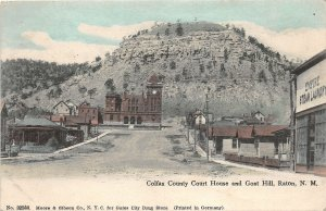 G96/ Raton New Mexico Postcard 1908 Colfax County Court House Goat Hill