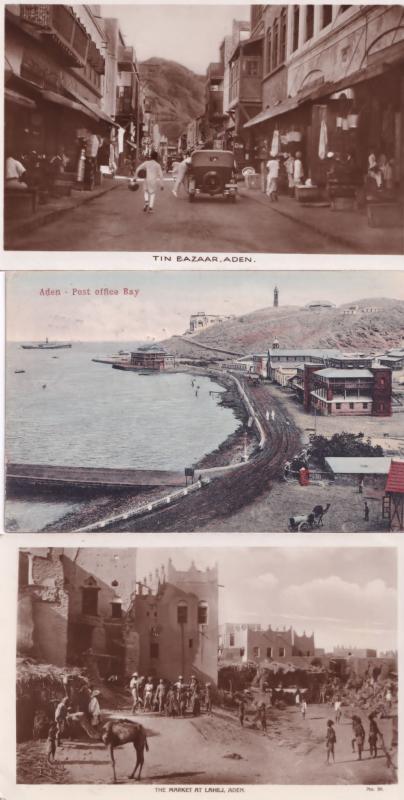 Aden Bazaar Market Post Office Bay Yemen & Unique Frank 3x Old Postcard s