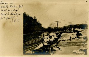 VT - White River Junction. Flood, 1910. Damage to Railroad Tracks   *RPPC
