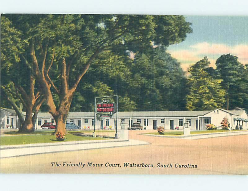 Unused Linen FRIENDLY MOTOR COURT MOTEL Walterboro South Carolina SC M6005