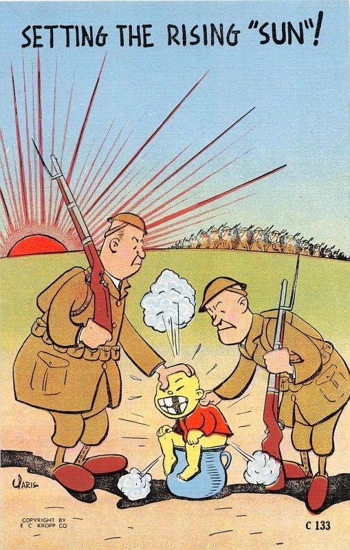 F62/ Patriotic Postcard Anti-Japanese WWII c40s Propaganda Toilet Comic 10