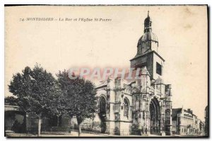 Old Postcard Montdidier The Street and St Peter's Church