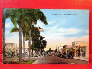 Postcard CA Chula Vista Street View Old Cars and Store Signs