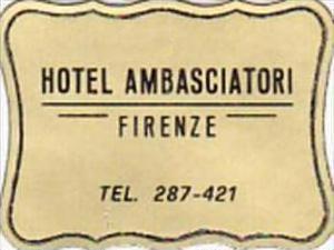 ITALY FIRENZE HOTEL AMBASCIATORI VINTAGE LUGGAGE LABEL