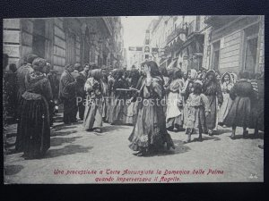 Vesuv Eruzione Del Vesuvio Palmen Sunday Procession c1906 Selten Postkarte