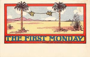 Comic Pun~The First Monday in Creation~Fig Leaves on Laundry Line~1905 Postcard
