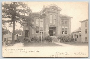 Winsted Connecticut~Town Building~Neighborhood~1907 Rotograph Postcard
