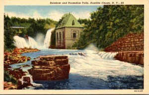 New York Ausable Chasm Rainbow and Horseshoe Falls 1951 Curteich