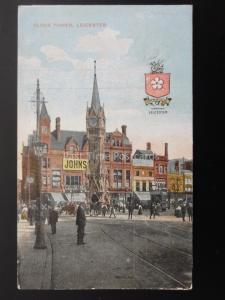 Leicester CLOCK TOWER shows FREEMAN HARDY WILLIS c1918 Old Postcard by G.D.& D.L