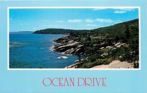 OCEAN DRIVE SAND BEACH THUNDER HOLE OTTER CLIFF MAINE POSTCARD