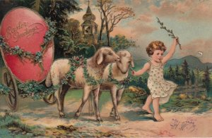 EASTER, 1900-10; Child leading sheep, pulling cart with giant red egg,  PFB 5837