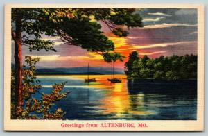 Altenburg Missouri~Sunset over Sailboats on Mississippi River~1939 Linen PC