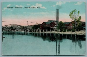 Baraboo Wisconsin~Water Tower & Smokestack @ Island Woolen Mill~c1910 Postcard