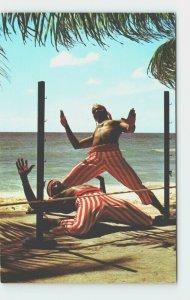 Beach Limbo Dancers Barbados West Indies WI Entertainment Vintage Postcard