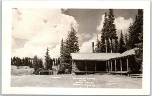 Laramie, Wyoming RPPC Real Photo Postcard BROOKLYN LODGE on the SNOWY RANGE 1947