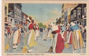 Michigan Holland Street Scrubbing Scene Tulip Time 1940 Curteich