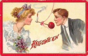 Halloween Greetings Candy Apple and Candle Romance Tuck Postcard JJ658983