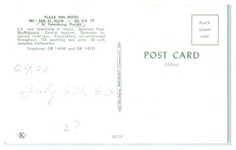 1950s/60s Plaza Inn Motel, St. Petersburg, FL Postcard