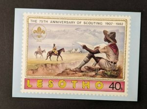 Mint Vintage Boy Scout Scouting Anniversary Postcard Lesotho