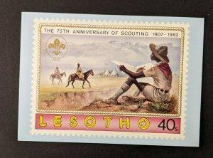 Mint Vintage Boy Scout Scouting Anniversary Postcard Lesotho