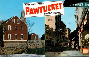 Rhode Island Pawtucket Greetings Showing Main Street and Old Slater Mill