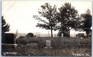 Hebron, Iowa RPPC Real Photo Postcard CEMETERY Gravestones c1910s Unused