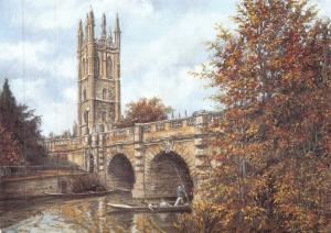 Postcard Art Magdalen Tower & Bridge, Oxford by Sue Firth Large 170x120mm