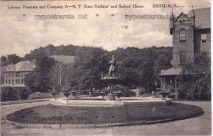 Library, Fountain, Soldiers Home, Bath NY