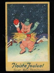 134386 Dressed Pink PIG Winter Vintage NEW YEAR COMIC PC
