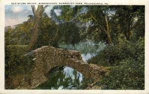 Old Stone Bridge, Fairmont Park Philadelphia PA Writing On Back