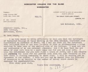 Worcester College For The Blind Classical Composer Hand Signed WW2 Letter