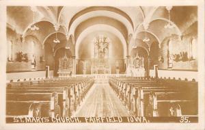 Fairfield Iowa~St Mary's Catholic Church~Interior~1909 Real Photo Postcard~RPPC