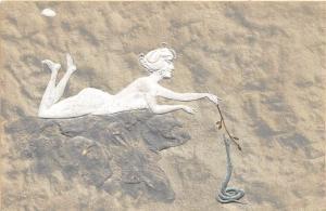 Beautiful Nude Teasing Snake OPF Publisher Embossed Postcard