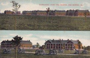 DES MOINES, Iowa, PU-1910; 2-Views, Barracks - Fort Des Moines, Canons