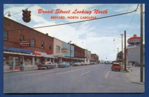 Brevard North Carolina nc Broad street Walgreens American Oil sign cars postcard