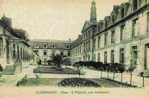 France Clermont Oise L'Hopital Vue Interieure Hospital Courtyard Postcard