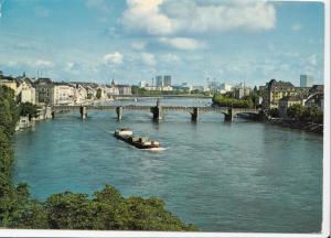 Switzerland, Suisse, Basel, Blick auf Rheinbrucken, 1977 used Postcard