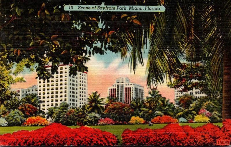 Florida Miami Scene Of Bayfront Park 1946