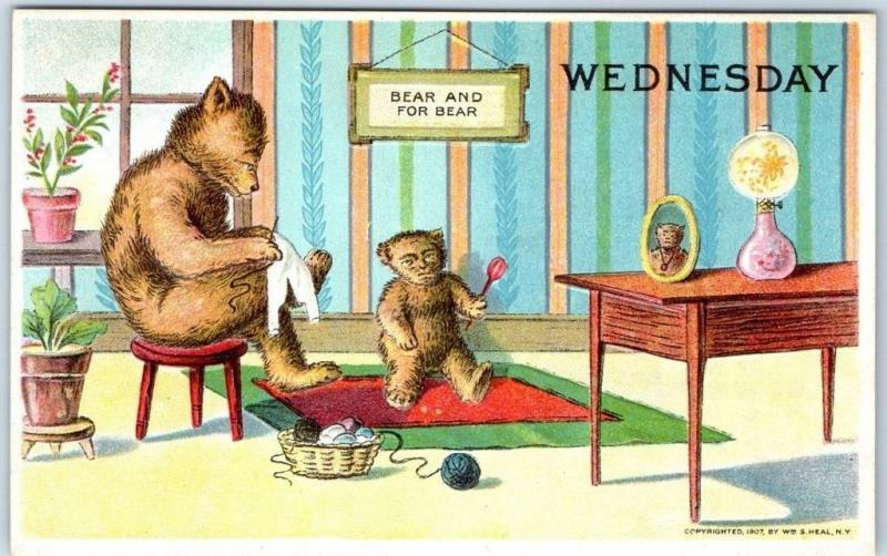 1910s BEAR Days of the Week Postcard Artist-Signed W.S. HEAL WEDNESDAY Sewing