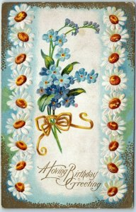Vintage BIRTHDAY Greetings Postcard Blue Flowers / White Daisy Border c1910s