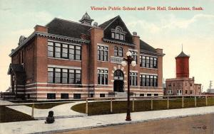 Saskatoon Saskatchewan~Victoria Public School~Fire Hall~Dog on Sidewalk~1909 PC