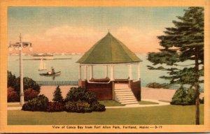 Maine Portland View Of Casco Bay From Fort Allen Dexter Press