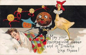 Thanksgiving Greetings Fantasy Nightmare Dancing Shapes Rooster HBG PC JI658554