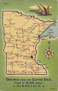 Minnesota Greetings From The Gopher State Land of 10000 Lakes Curteich