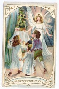 Vintage Christmas Postcard Angel Tree for Children 1907 Raphael Tuck Embossed
