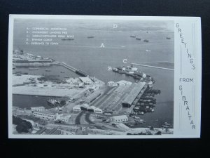 Gibraltar DOCKS / PORT / PIER & SPANISH COAST - Old Postcard by The Rock Studio