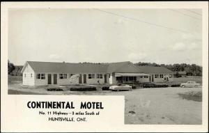 canada, HUNTSVILLE, Continental Motel, Cars (1950s) RPPC