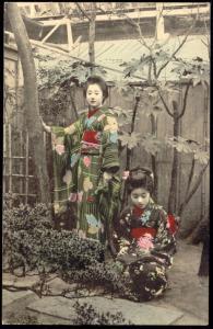 japan, 2 Beautiful GEISHA Ladies in Garden KIMONO 1920