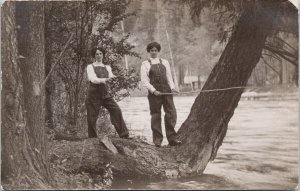 Two Young Women Fishing Dressed Similar Clothes Angling RPPC Postcard F78