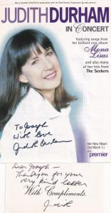 Judith Durham The Seekers 2x Hand Signed Live Concert Flyer Card